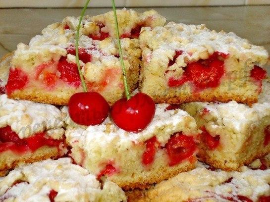 Тертый пирог с вишней рецепт с фото