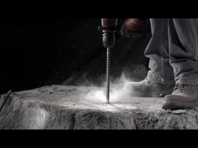 SLOW MOTION footage of Hilti hammer drill bits for concrete masonry