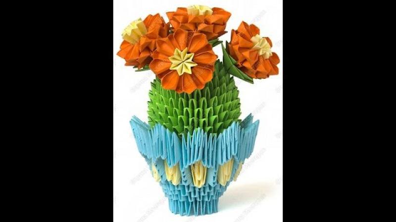 Cacti. Modular origami. Master Class.Кактусы. Модульное оригами. Мастер класс.