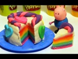 Свинка Пеппа!Лепим из пластилина!Видео с игрушками из мультфильмов!Торт полимерная глина.Elsa & Anna