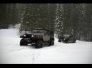 Deep Snow Jeep Wrangler and Toyota Tacoma Snowrun to Elk Lake in Oregon