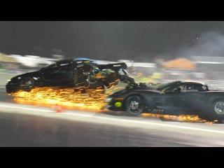 Bad WRECK - Blown Corvette & Turbo Mustang DESTROYED!