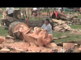Barbara &amp Alan record Chainsaw Wood Sculptures at Woodfest Wales