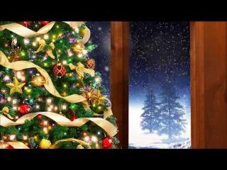 Снег за окном. Новогодний фон.