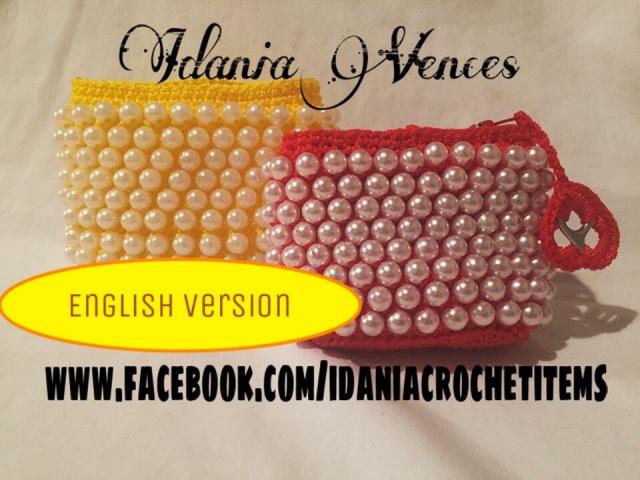 DIY English Version beaded crochet coin purse