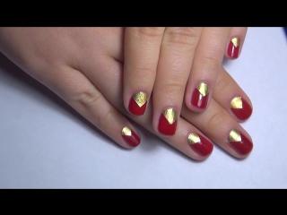 Маникюр с фольгой - Маникюр на коротких ногтях