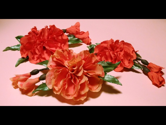 Fabric flowers how to make:Fluffy Tagetes/tutorial/Цветы из ткани: пушистые бархатцы/МК