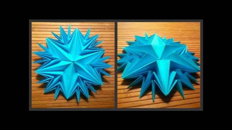 Beautiful snowflake modular origami! Schemes of origami paper, a master class. Modular origami