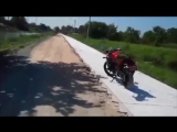 Man figths a wild scumbag monkey on the dirt road