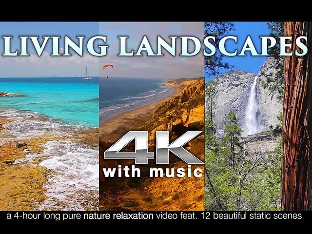 4K LIVING LANDSCAPES (Binaural Music) | Nature Relaxation™ 4HR Stress Relief/Screensaver Video UHD