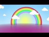 Детский футаж. ФОН для слайд шоу. Радуга с облаками