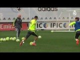 Casemiro's great pass in training sets up Cristiano Ronaldo