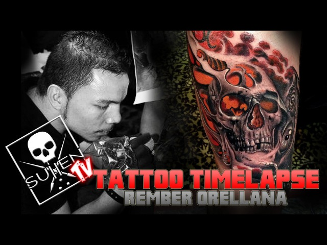 Tattoo Time Lapse - Rember Orellana - Tattoos Black and Grey Skull with Color Fusion