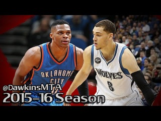Russell Westbrook vs Zach LaVine Highfliers Duel 2016.01.12 - 43 Pts, 11 Assists Combined