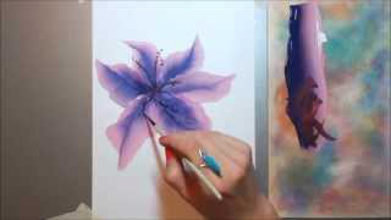 Техника росписи OneStroke Lily | ЛИЛИЯ