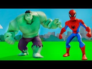 Супергерои мультик - Халк и Человек Паук играют в мире ДИСНЕЙ вместе с машинками ТАЧКИ. Игра детям