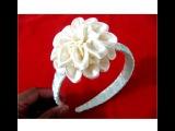 Flores dalias pom pom en diademas trenzadas en cintas para el cabello