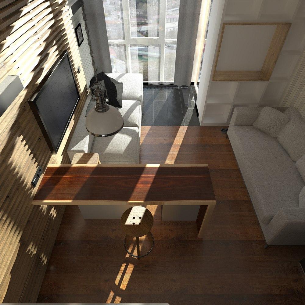Проект прямоугольной студии 27 м.