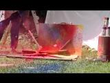 Взрыв аэрозольного баллончика с краской на скорости 2500 кадров