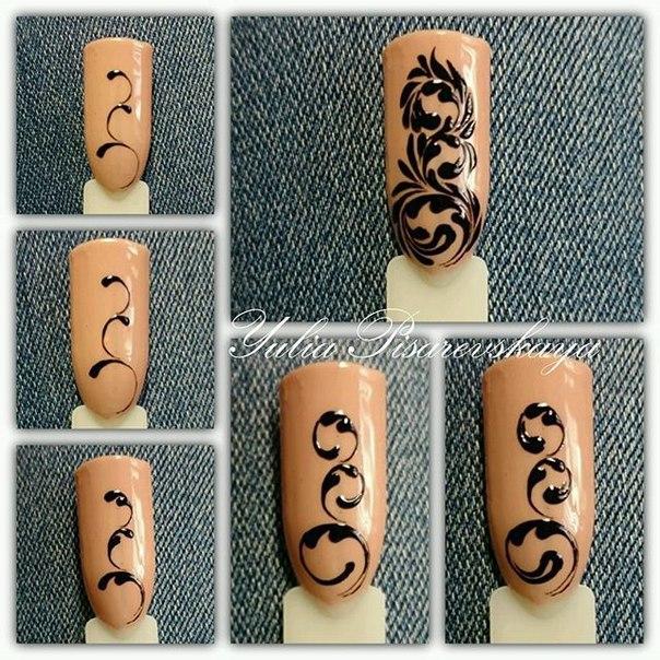 Схема рисования вензелей на ногтях