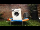 What will happen if a brick is put in a washing machine, put it on a trampoline and turn it on?