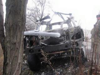 Обнародованы фото взорванного автомобиля ликвидированного атамана Дрёмова