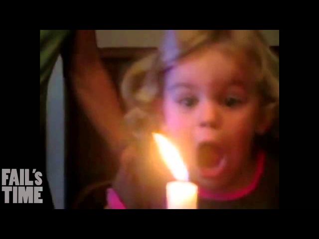 Дети тушат свечу Сandle extinguishing by baby