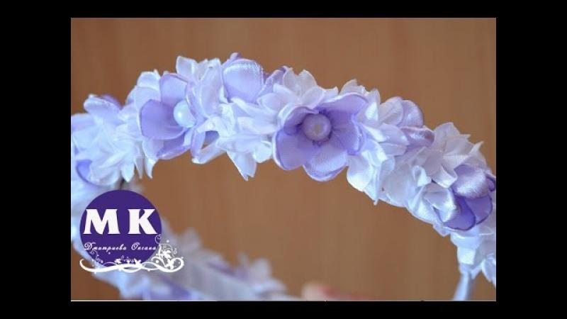 Канзаши мастер-класс. Цветы из лент. Ободок на голову