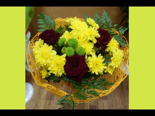 Как сделать букет из хризантем и роз