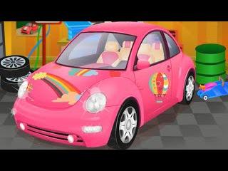 Моем розовую машинку Барби. Мультики про машинки для детей. Детские мультики про машинки. Мультфильм