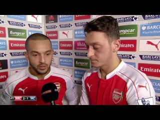 Post-Match Interview - Arsenal 2:1 Man City - Theo Walcott and Mesut Ozil
