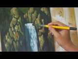 Learn How To Paint Waterfalls - Instruction Acrylic Lesson by JM Lisondra