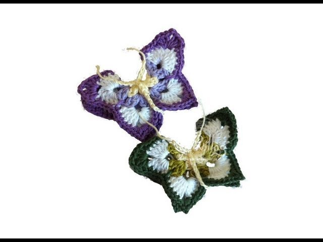 Tutorial Mariposa Crochet o Ganchillo Butterfly (English subtitles)