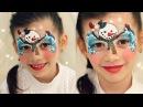 Аквагрим Снеговик - простая и милая маска, для мальчиков и девочек