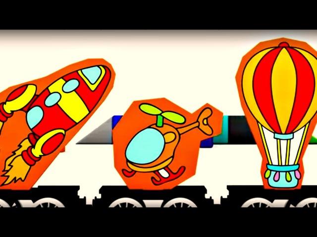Quatre voitures colorées - puzzle: MOYENS de TRANSPORT🚌🚑🚲. Dessin animé en français pour enfants