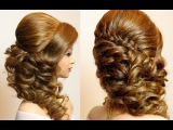 Curly prom wedding hairstyle with braid for long hair tutorial