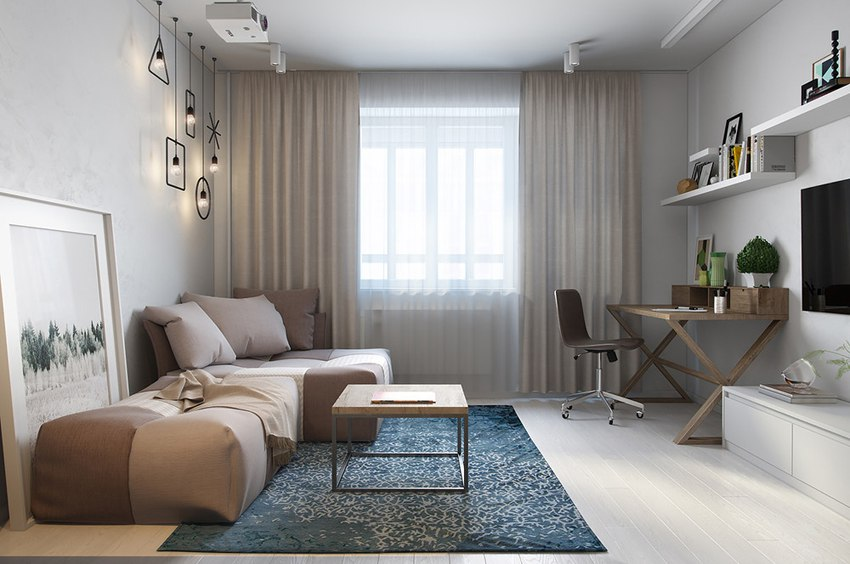 Концепт студии 30 м с разворотом кухни и спальней на ее месте.