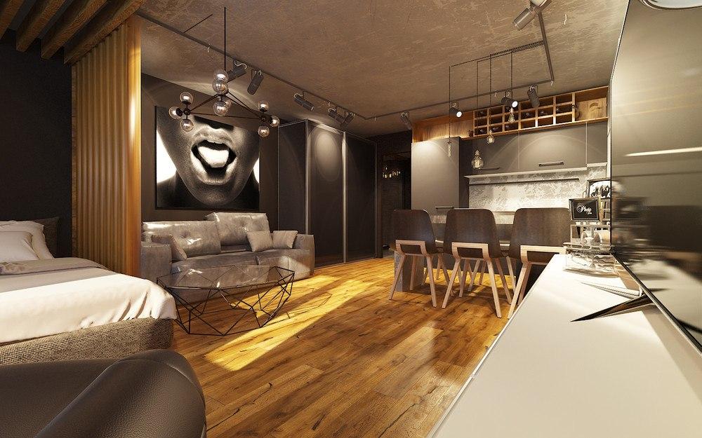 Концепт квартиры 39 м в стиле лофт.