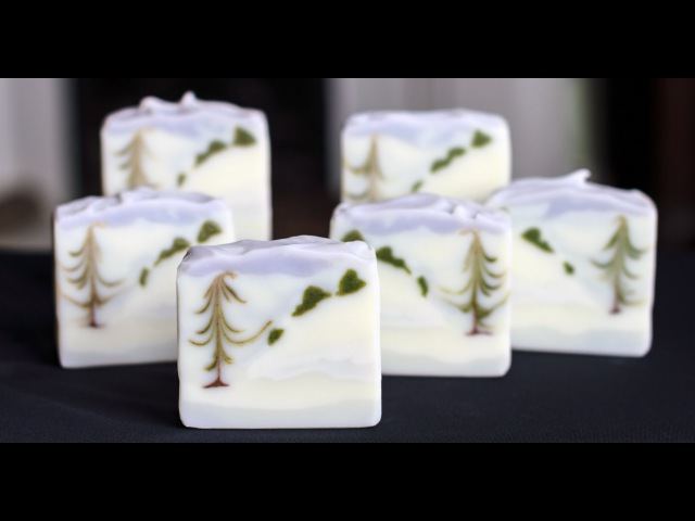 Homemade Soap - Winter Wonderland Landscape Feather Swirl - Great Cakes Challenge