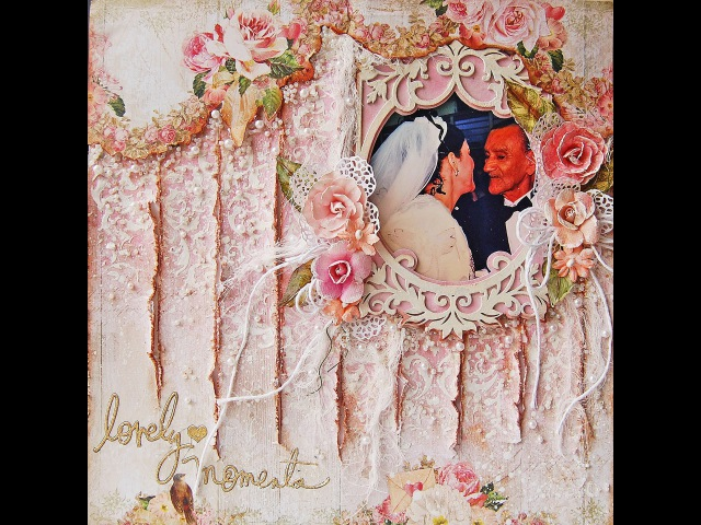 Lovely Moments Mixed Media Shabby Chic Scrapbooking page for My Creative Scrapbook