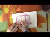 Мастер класс #4 Картина акварелью. Детская иллюстрация - автобус.