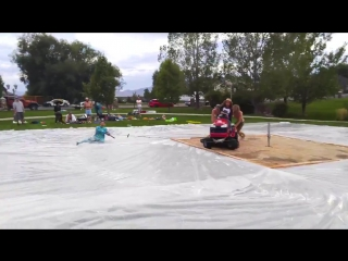 Lawn mower slip n slide - filmed on a smartphone