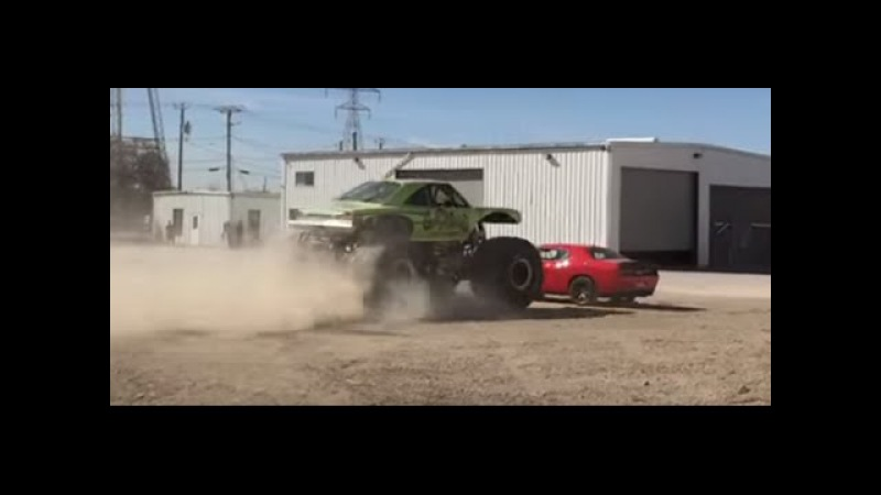 Bystander Captures Monster Truck Running Over 2015 Hellcat Challenger!