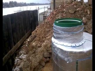 Установка Альта кессона возле подпорной стенки на Волге от Септик Профи