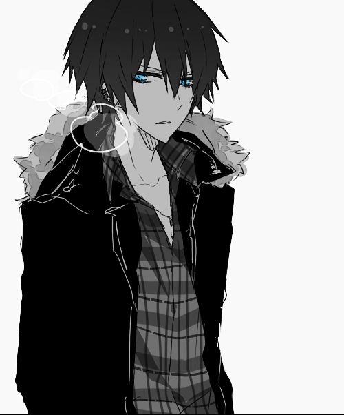 Арт аниме парень с черными волосами
