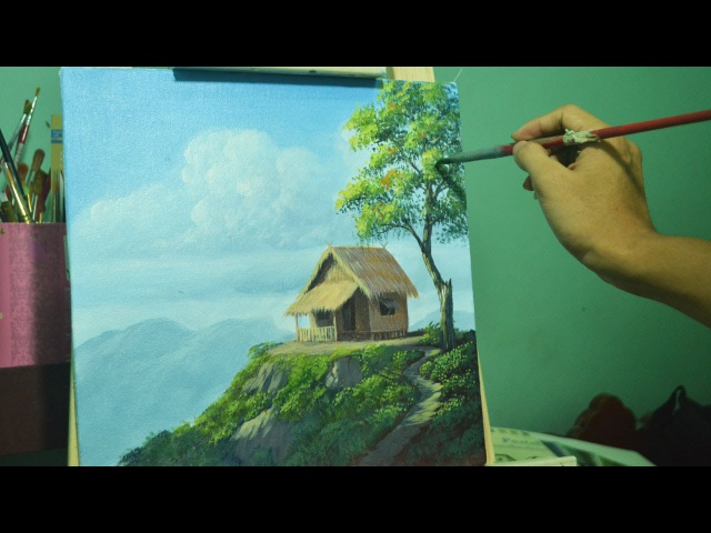 Acrylic Landscape Painting Lesson-House on Top of Hill by JMLisondra