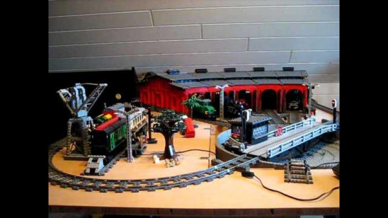 Lego Eisenbahn , Drehscheibe mit Lokschuppen