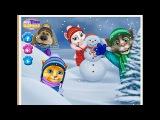 Talking Tom and Angela Playing Snowballs Говорящий кот Том и Анджела играет в снежки