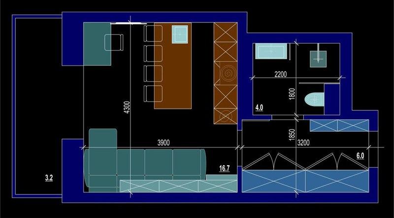 Проект студии 30 м с присоединенной лоджией.
