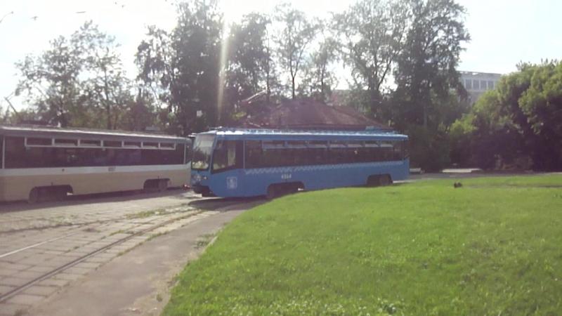 Маневры трамваев 71-619 и троллейбуса ЗиУ-682ГМ1 (с широкой 1-й дверью) на К/Ст Проезд Энтузиастов